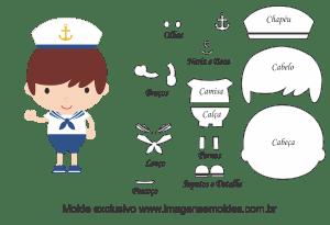 Molde de Marinheiro- Marinheiro - para EVA, Feltro e Artesanato, Matrosenform, sailor mold, molde marinero