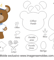 Molde de Marinheiro - Urso Marinheiro - para EVA, Feltro e Artesanato