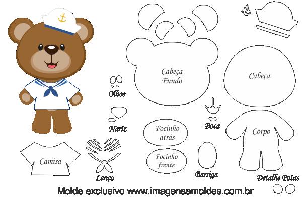 Molde De Urso Marinheiro Para Feltro Eva E Artesanato Baixe Gratis
