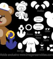 Molde de Marinheiro - Urso em Pé - para EVA, Feltro e Artesanato