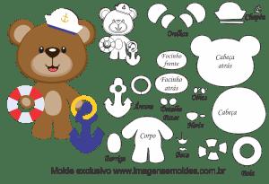 Molde de Marinheiro - Urso em Pé - para EVA, Feltro e Artesanato, oso marinero molde, bear sailor mold, Matrosenform zu tragen