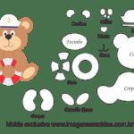 Molde de Marinheiro – Urso – para Feltro, EVA e Artesanato