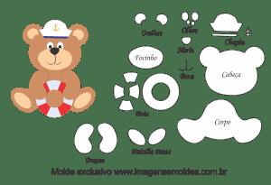Molde de Marinheiro - Urso - para EVA, Feltro e Artesanato, oso marinero molde, bear sailor mold, Matrosenform zu tragen