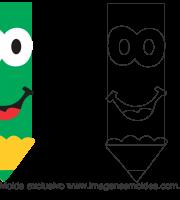 Molde para Escola - Lápis - para EVA, Feltro e Artesanato