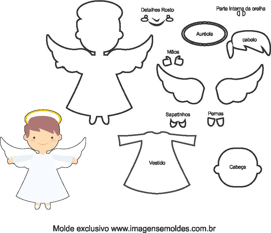 Molde de Anjo para EVA - Feltro e Artesanatos, Engelsform, molde de ángel, angel mold