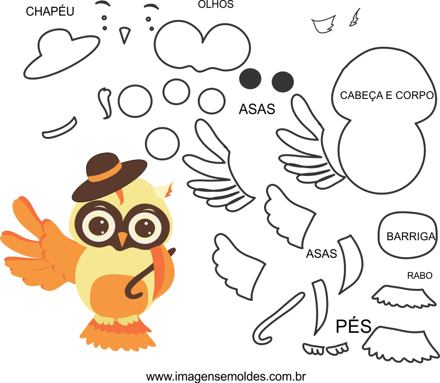 Molde de animal, coruja 1, para eva, feltro e artesanato, Eulenform, owl mold, molde de búho