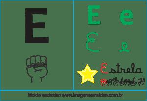 Imagens, Cartazes de Letras em Libras Alfabeto - Letra E