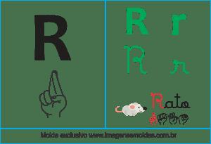 Imagens, Cartazes de Letras em Libra Letra R - Letra R Alfabeto