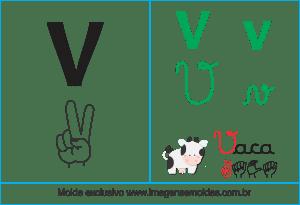 Imagens, Cartazes de Letras em Libra Letra V - Letra V Alfabeto