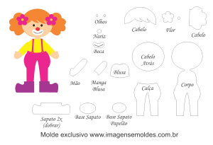 Molde Palhacinha para EVA, Feltro e Artesanato, circus mold, Zirkusform, molde de circo