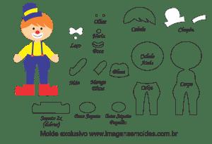 Molde Palhacinho para EVA, Feltro e Artesanato, circus mold, Zirkusform, molde de circo