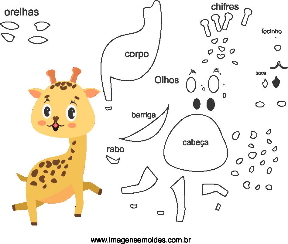 Molde de animal girafa 1 para Feltro, Eva e Artesanato, Giraffenform, giraffe mold, molde de jirafa
