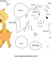molde de animal, girafa 2 para eva, feltro e artesanato