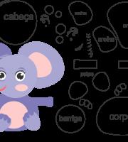 Molde para elefante para eva, feltro e artesanato