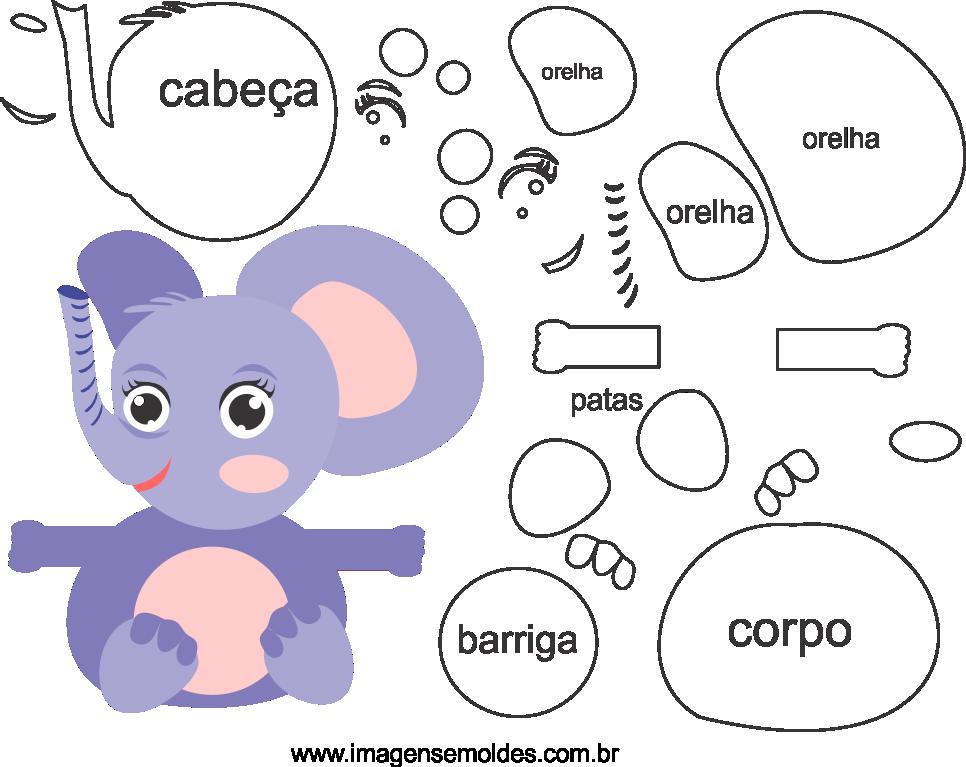 Molde para elefante para eva, feltro e artesanato, molde de elefante bebé, baby elephant mold, Elefantenbaby Schimmel