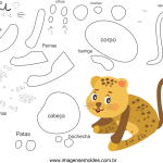 Molde de animal onça1 para Eva, Feltro e Artesanato