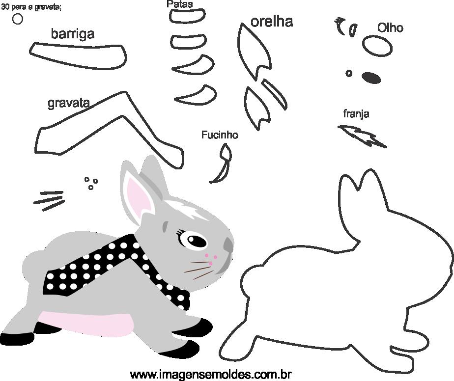 Molde animal, coelho para eva, feltro e artesanato, molde de conejo, rabbit mold, Kaninchenform