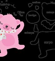Molde de animal ursinho 2 para Eva, Feltro e Artesanato