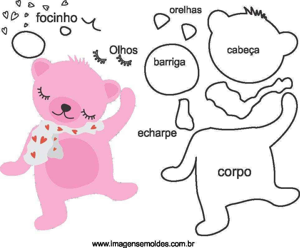Molde de animal ursinho 2 para Eva, Feltro e Artesanato, molde de oso de peluchem, teddy bear mold, Teddybär Schimmel