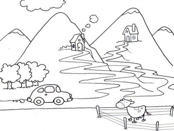 Desenhos Para Colorir A Caminho Das Montanhas