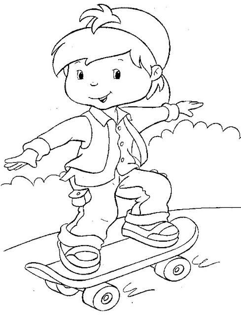 Desenhos Para Colorir Crianca Andando De Skate
