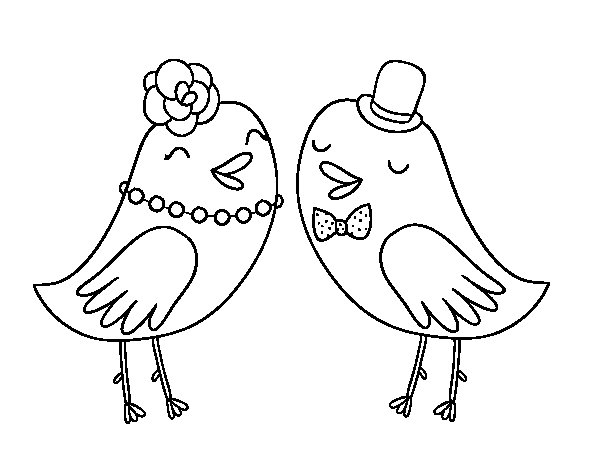Desenhos Para Colorir Passaros De Casamento