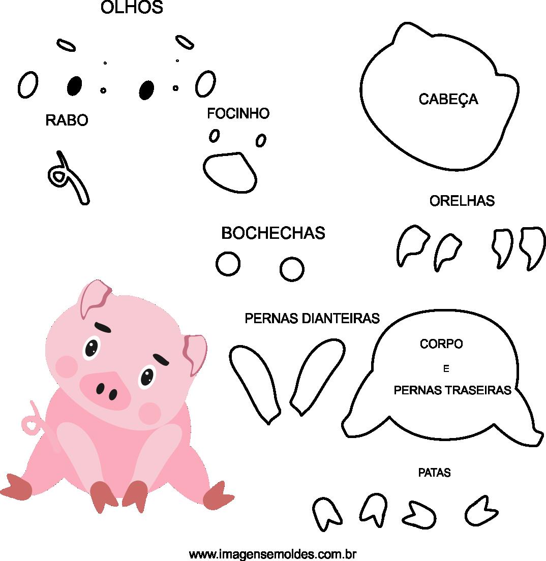 Molde de porco 2 para eva, feltro e artesanato, pig mold, molde de cerdo, Schweineschimmel