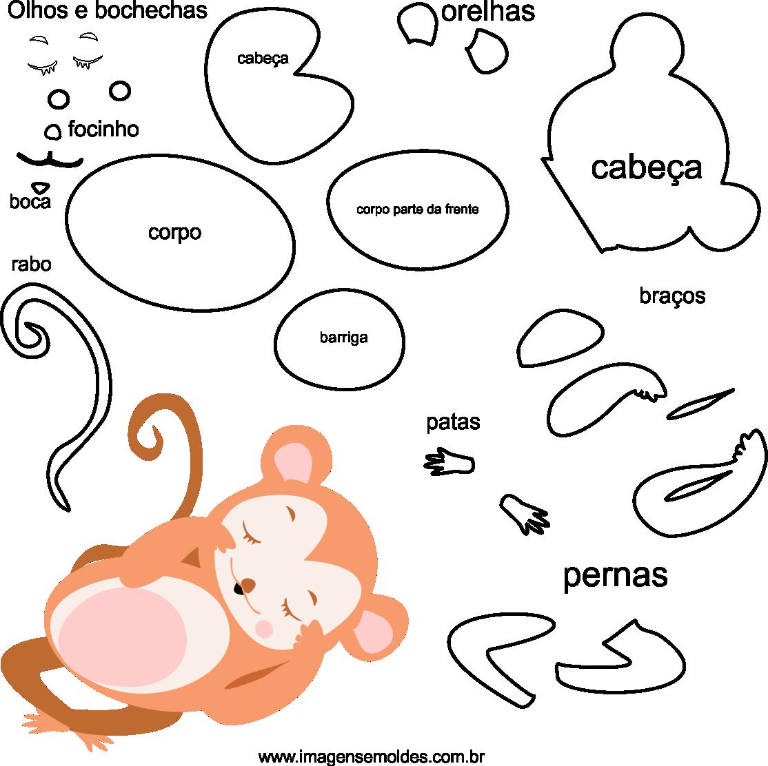 Molde de animal macaco 2 para feltro, eva e artesanato, Affenform, molde de mono, monkey mold