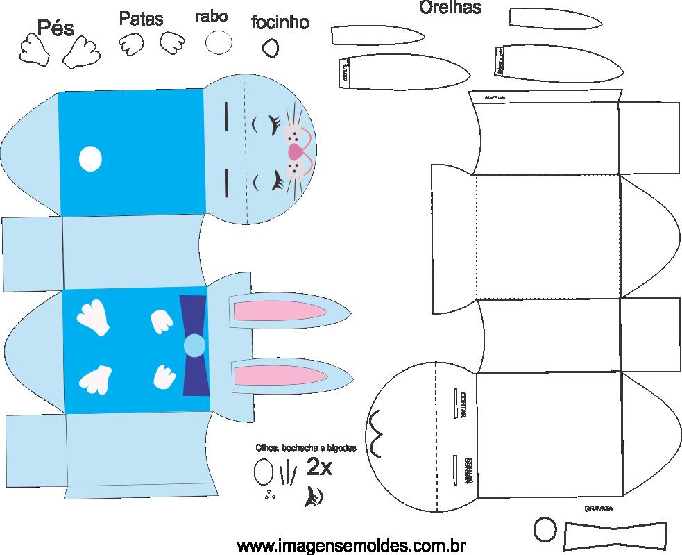 Molde de caixa de coelho 2 para eva, feltro e artesanato, easter box mold, Ostern-Kastenform, molde de caja de pascua