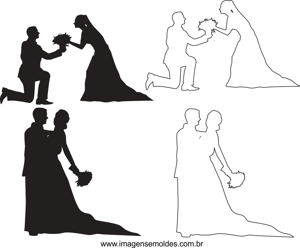 molde de casamento 2 para feltro, eva e artesanato