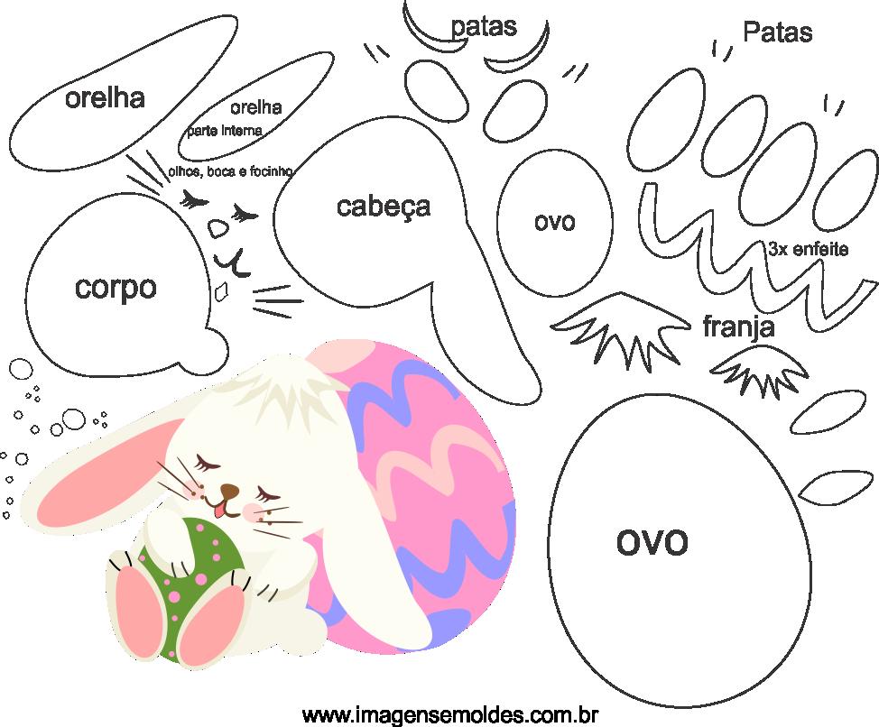 Molde de Páscoa 2 para Feltro, Eva, e Artesanato,  easter mold, Ostern Schimmel, molde de pascua