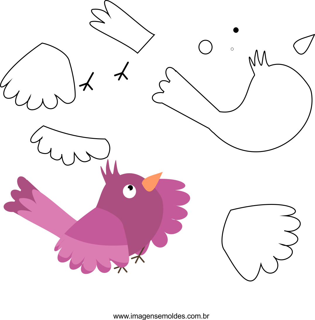 Molde de passarinho 1 para eva, feltro e artesanato, molde de pájaro, bird mold, Vogelschimmel