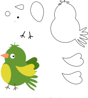 molde de passarinho 2 para eva, feltro e artesanato