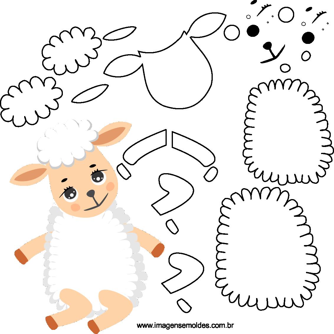 Molde de ovelha 2 para eva, feltro e artesanato, Schafschimmel, sheep mold, molde de oveja