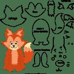 Molde de animal raposa 1 para Eva, Feltro e Artesanato