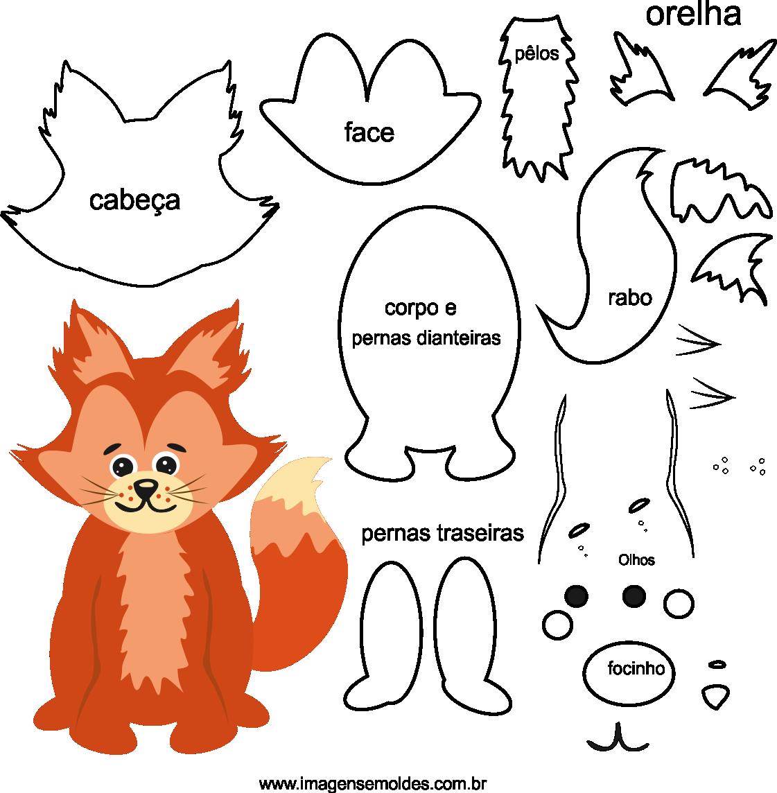 Molde de animal, raposa1 para eva, feltro e artesanato, fox mold, molde de zorro, Fuchs Schimmel