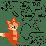 Molde de animal raposa 2 para Eva, Feltro e Artesanato
