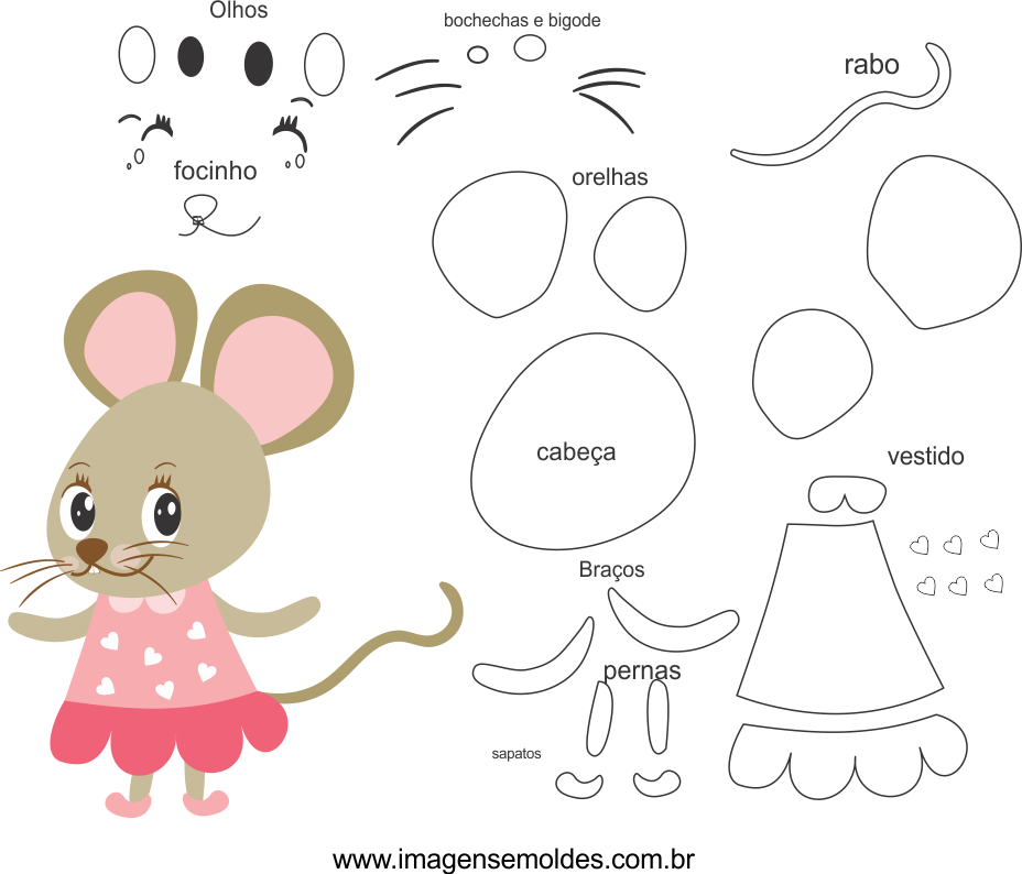 Molde de rato1 para eva, feltro e artesanato, Maus Schimmel, molde de ratón, mouse mold