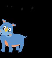 Molde de animal rinoceronte2 para Feltro, Eva e Artesanato