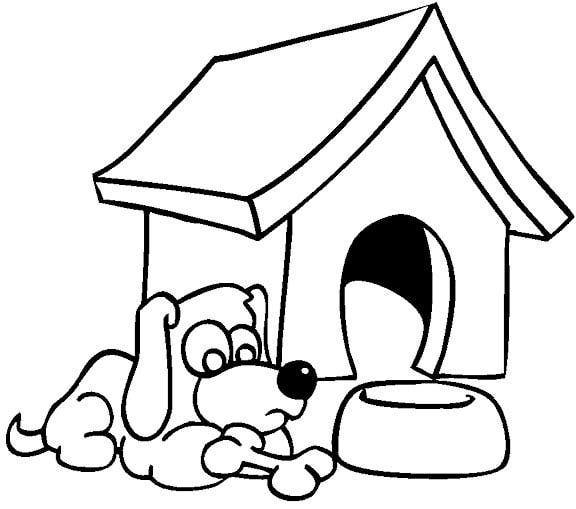 Desenhos Para Colorir Cachorro Dormindo Em Sua Casinha