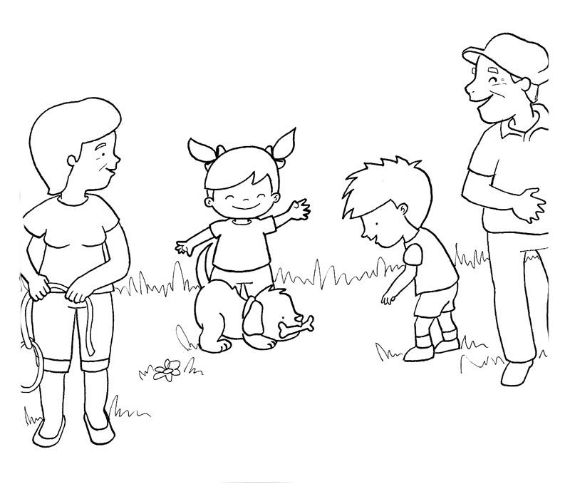 Desenhos Para Colorir Família Brincando Com Cachorro