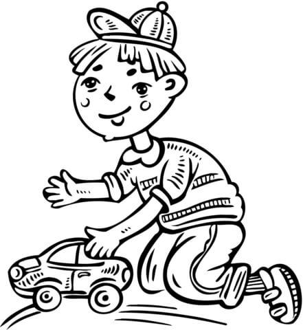 Desenhos Para Colorir Menino Brincando Com Seu Carrinho