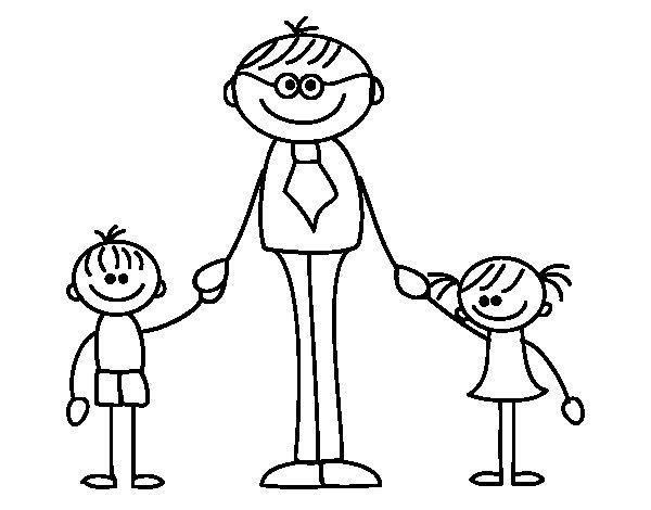 Desenhos Para Colorir Pai Com Filhos