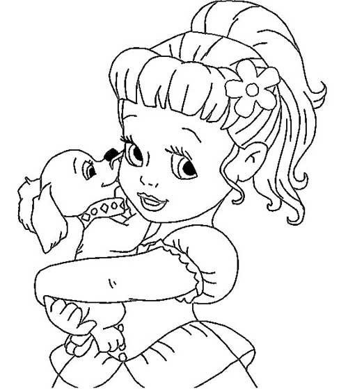 Desenhos Para Colorir Princesa Com Cachorro