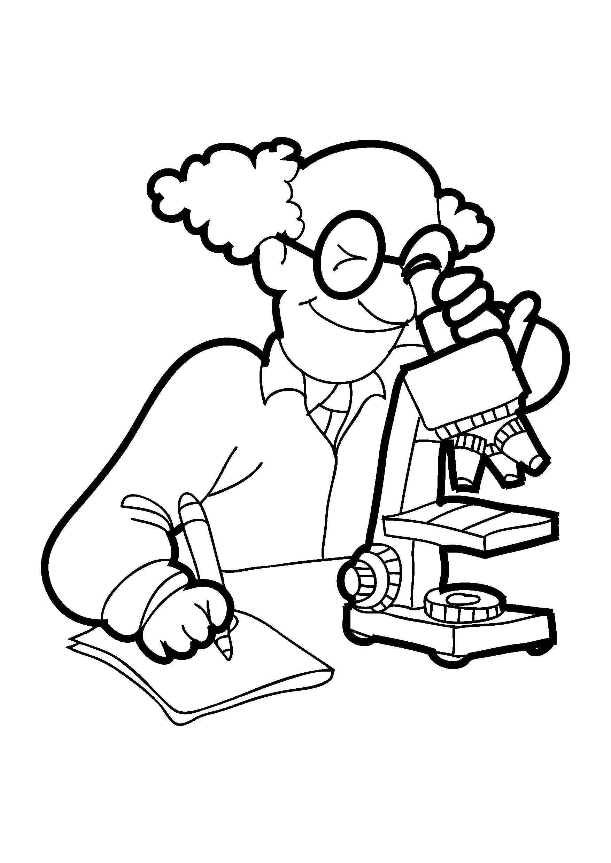 Desenhos Para Colorir Profissoes Cientista