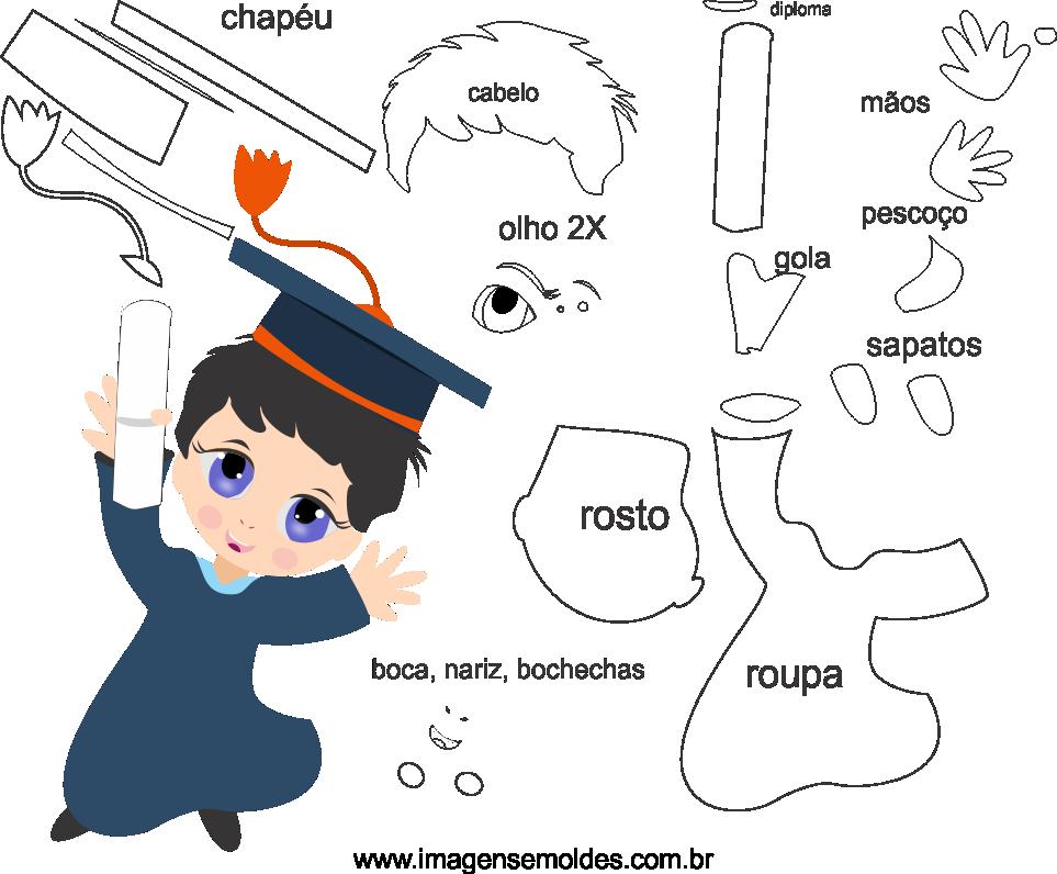 Molde de Formatura 8 para feltro, eva e artesanato, molde de graduación, Abschlussform, graduation mold