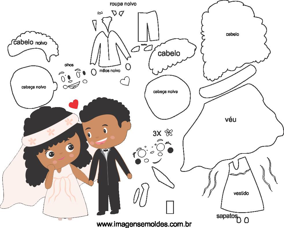 Molde de casamento 14 para eva, feltro, e artesanato