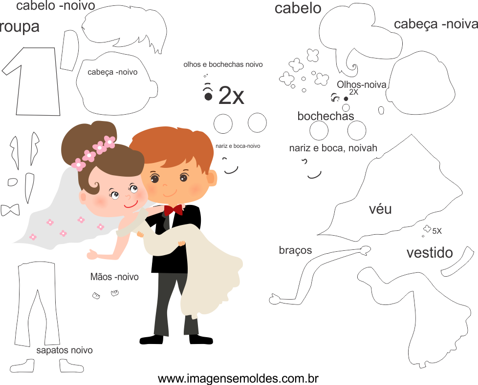 Molde de casamento 5 para eva, feltro e artesanato