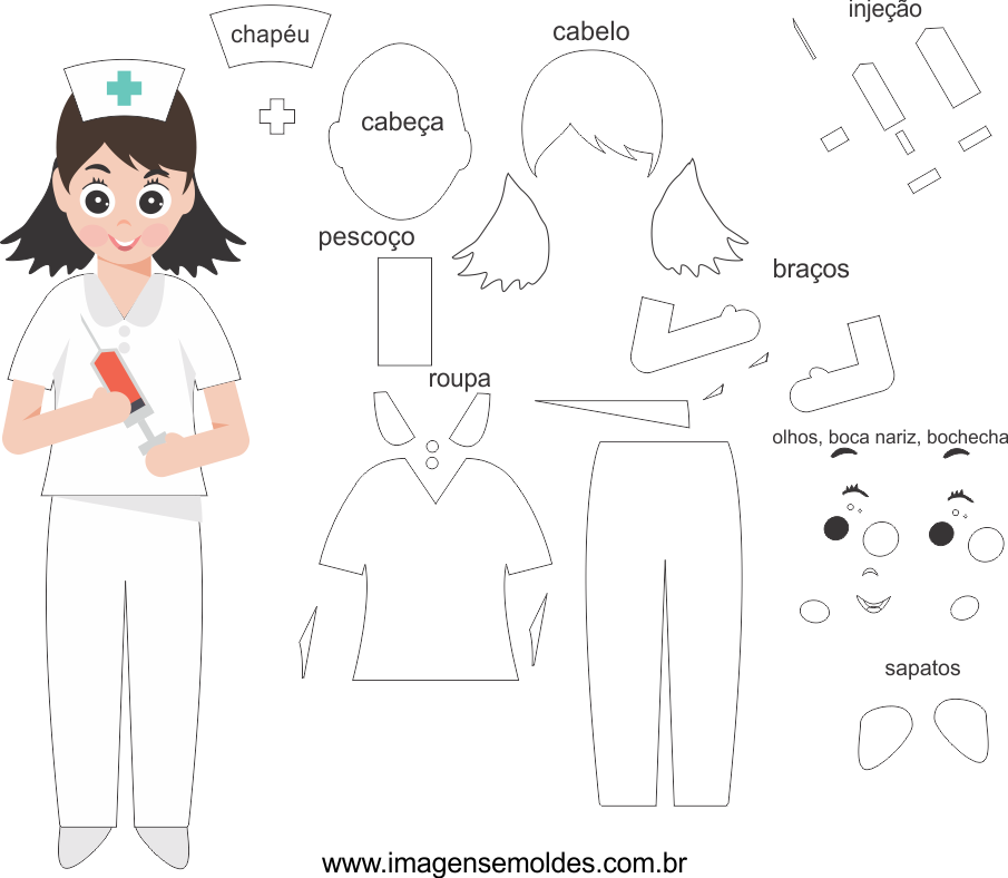 Molde de Enfermeira 2 para eva, feltro e artesanato, El elenco de la enfermera, Die Besetzung der Krankenschwester, Nurse's cast
