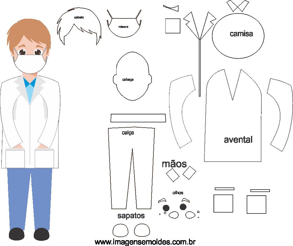 Molde de enfermeiro 6 para Eva, Feltro e artesanato, El elenco de la enfermera, Die Besetzung der Krankenschwester, Nurse's cast